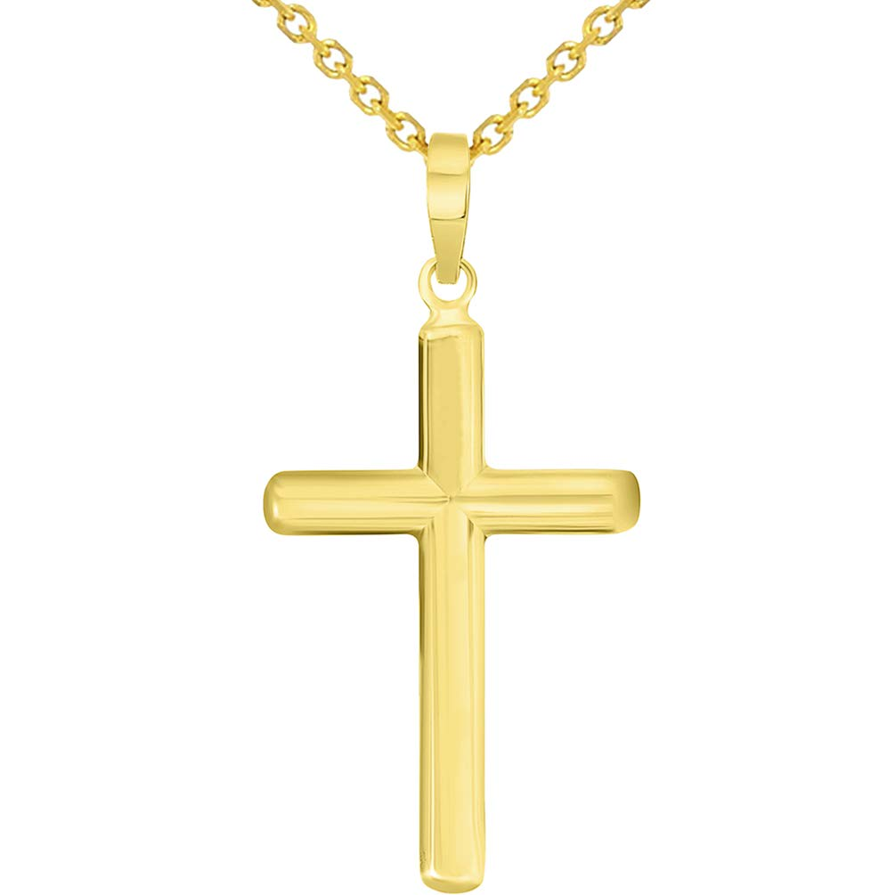 Yellow Gold Traditional Religious Plain Cross Pendant Necklace with Rolo