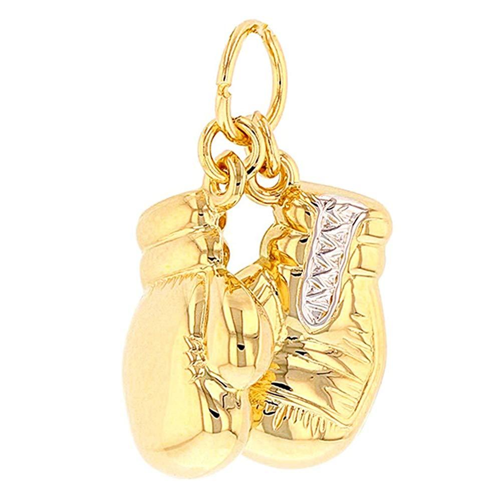 14k Yellow Gold 3D Boxing Gloves Pendant
