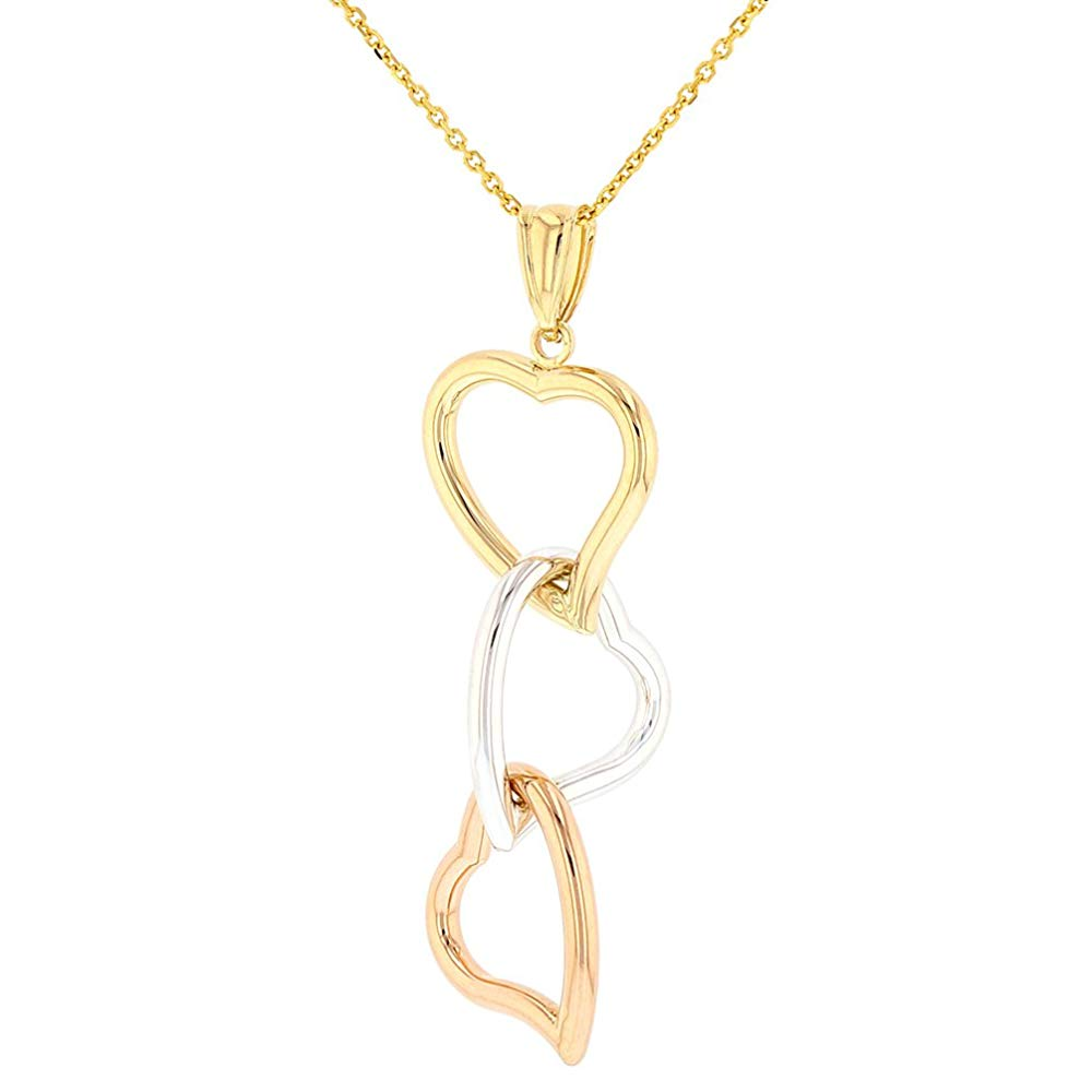 14k Tri-Color Gold Curved Heart Pendant