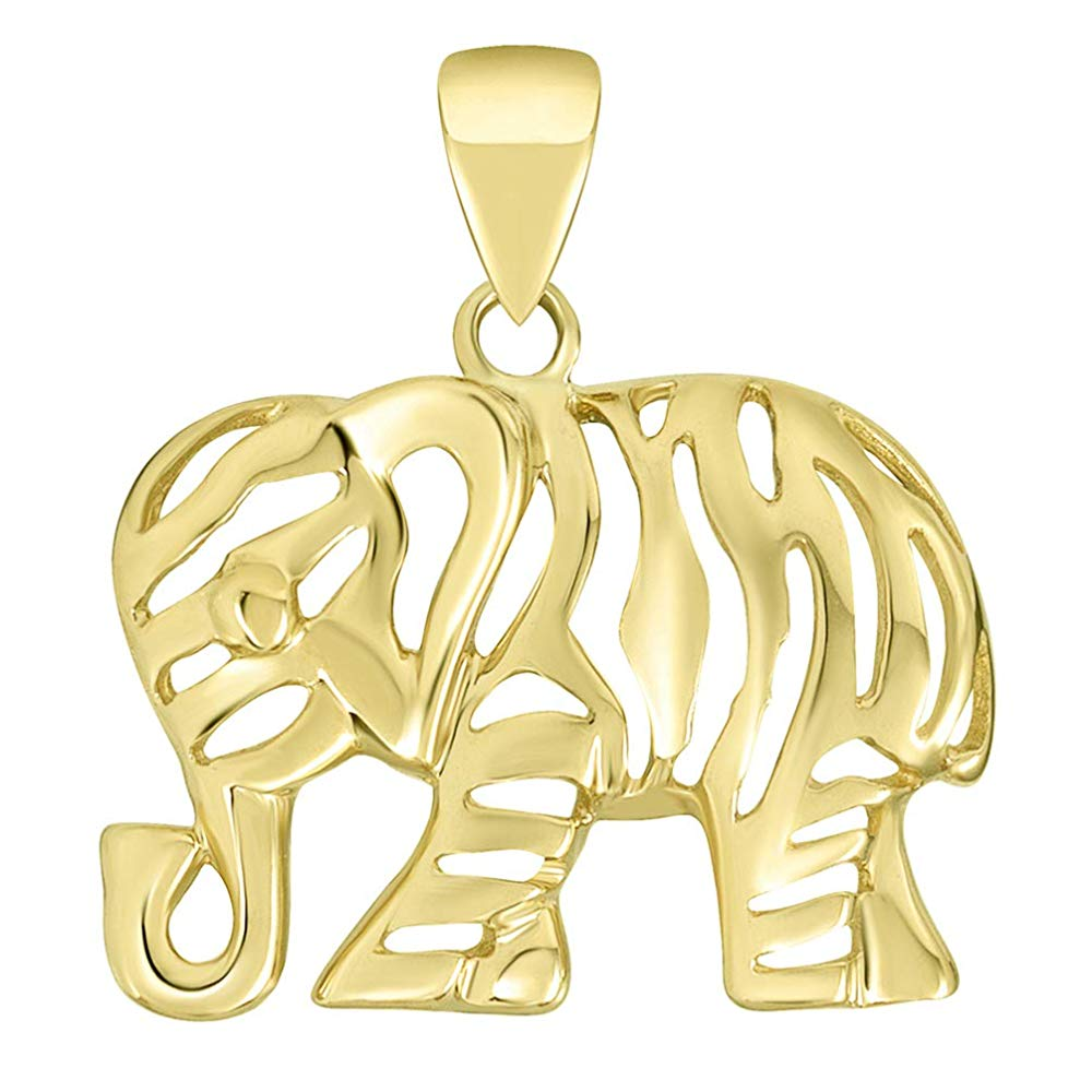 14K Yellow Gold Elegant Elephant Charm Animal Pendant