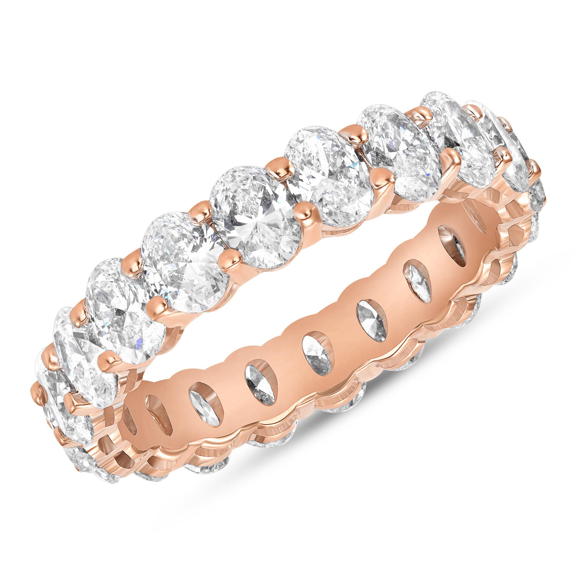 Oval Diamond Eternity Band Rose Gold