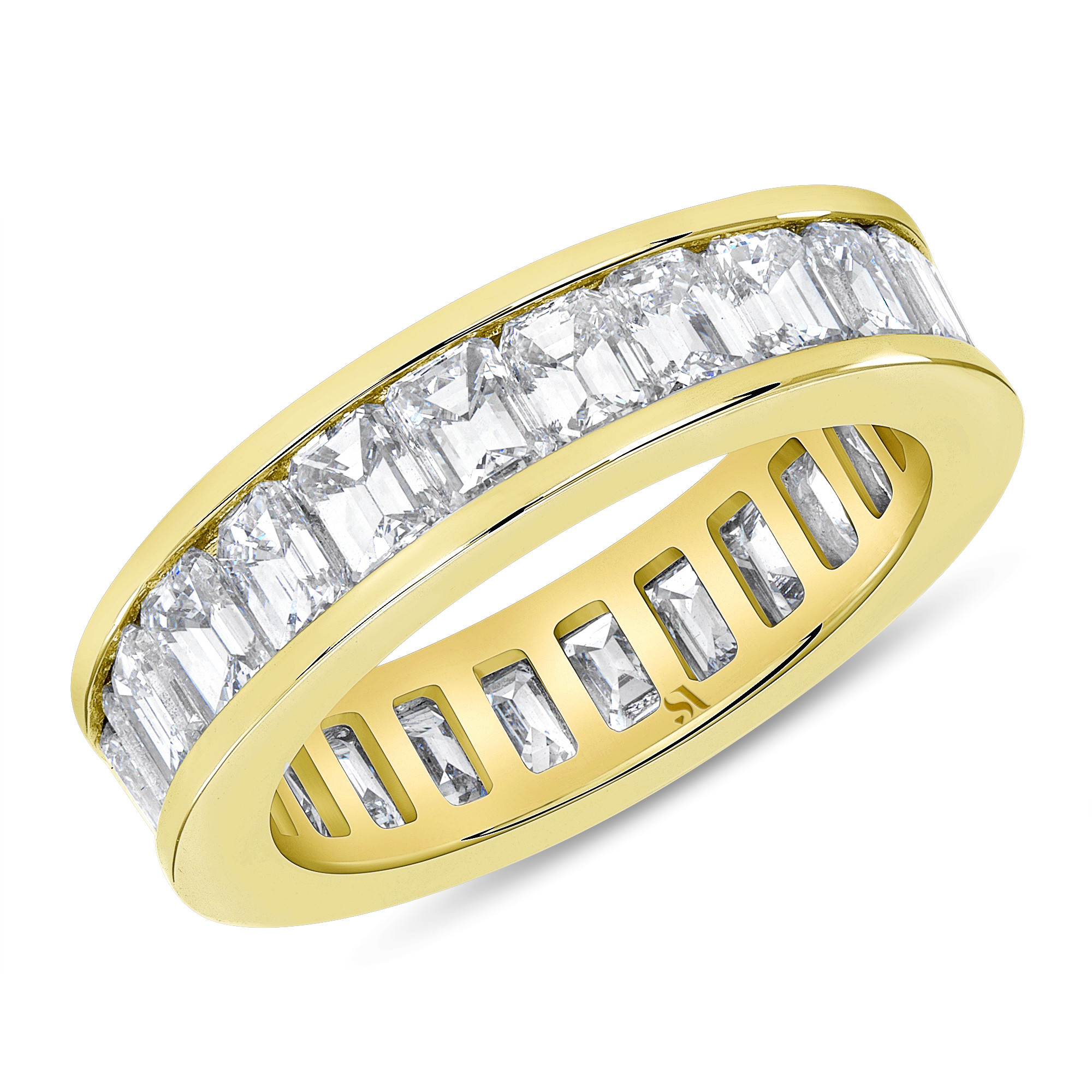 channel set emerald eternity band yellow gold