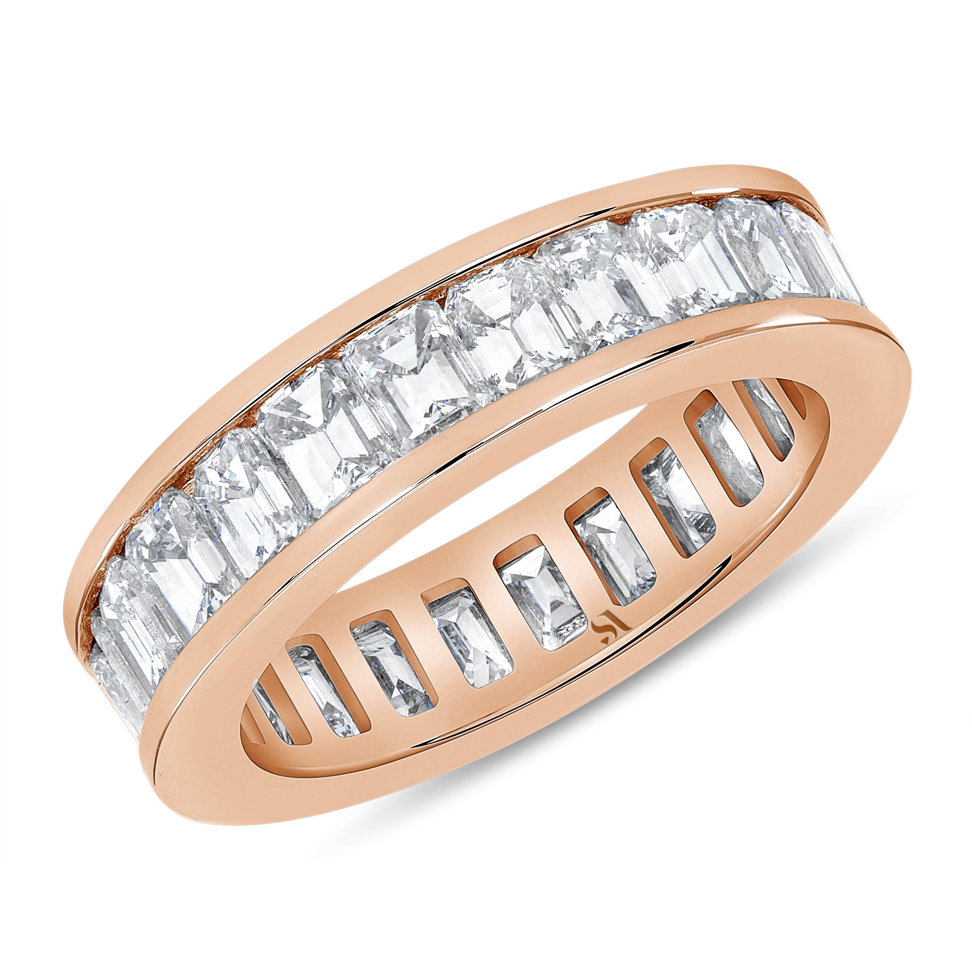 channel set emerald eternity band rose gold
