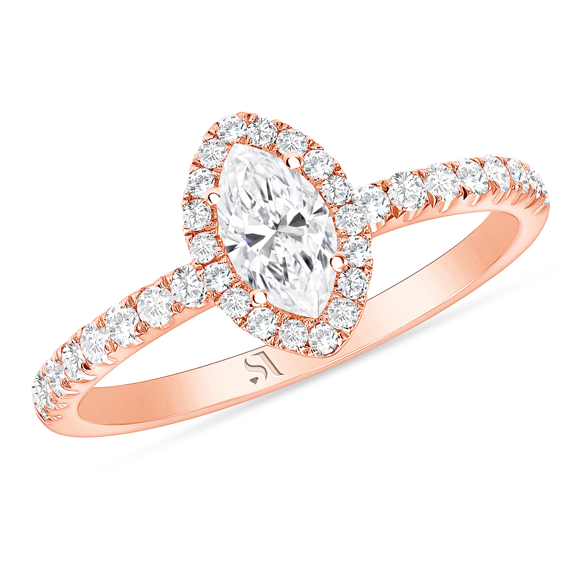 Marquise Diamond Halo Ring | Sabrina A Inc