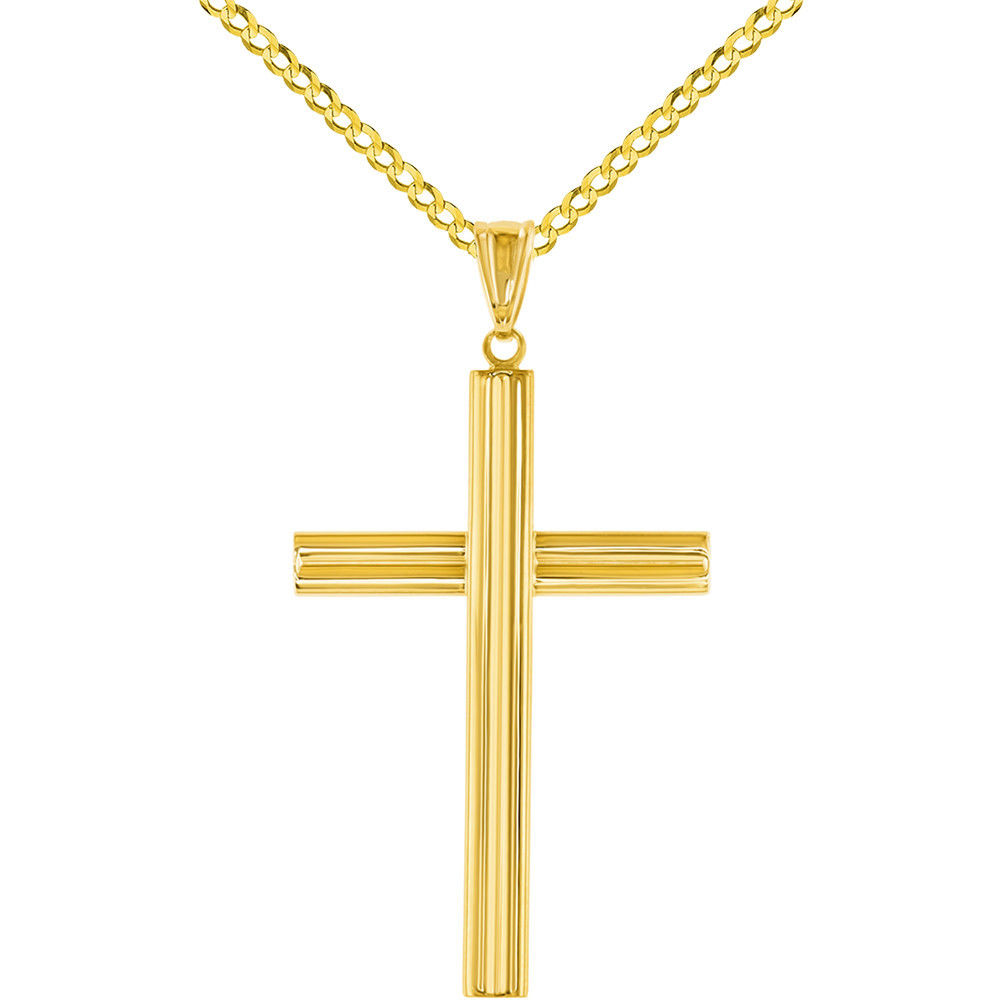 14K Yellow Gold Religious Cross Pendant