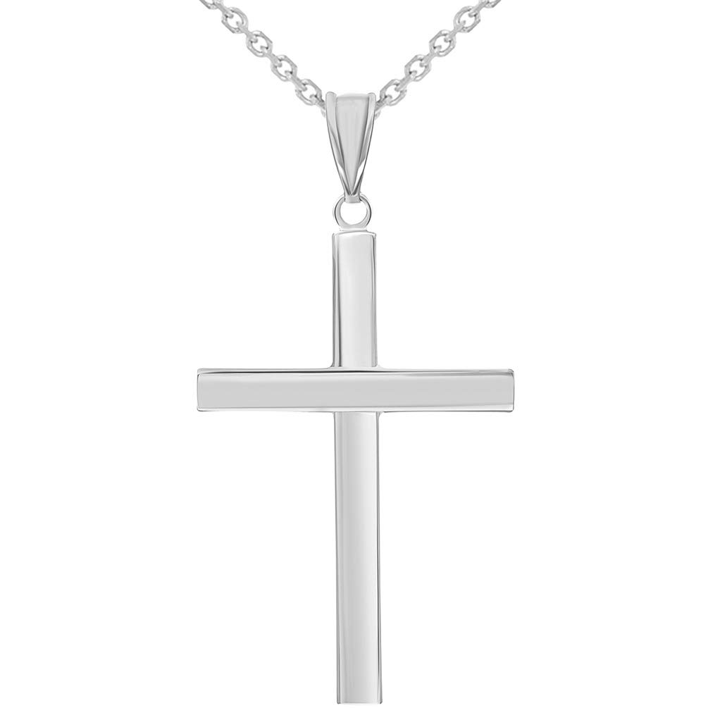 14k White Gold Polished Religious Cross Pendant