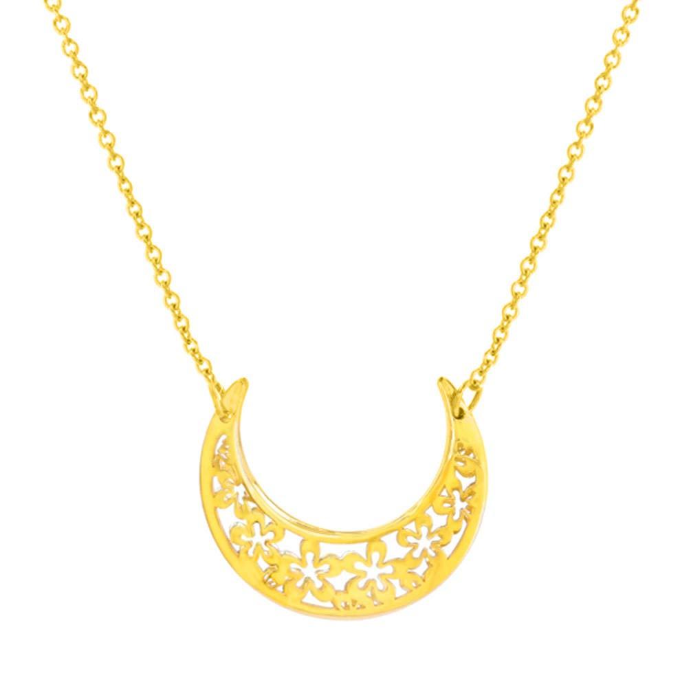 14K Yellow Gold Sideways Floral Crescent Moon Necklace |  14k gold crescent moon necklace