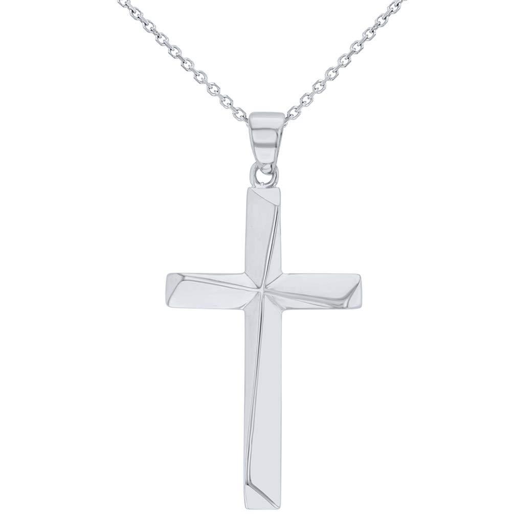 14K White Gold Elegant Religious Cross Pendant