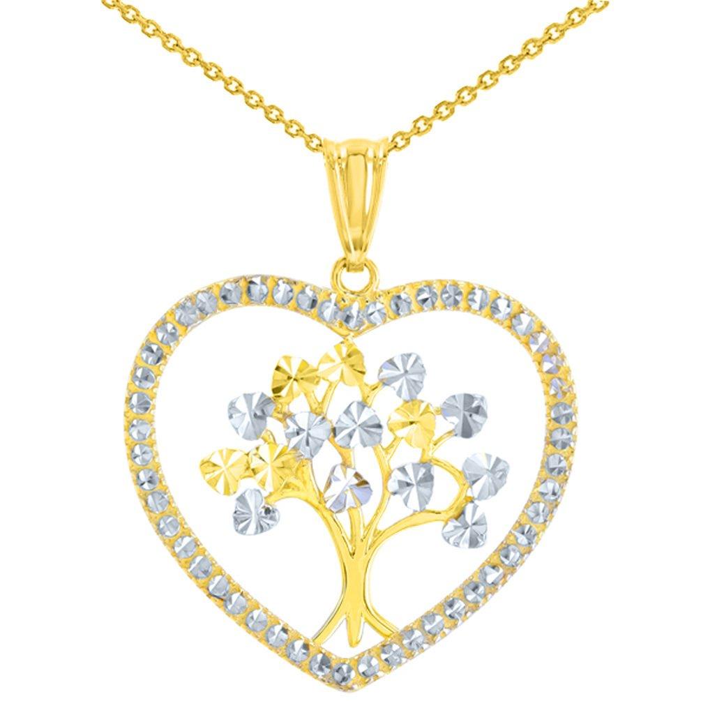 14K Yellow Gold Tree of Life Heart Pendant