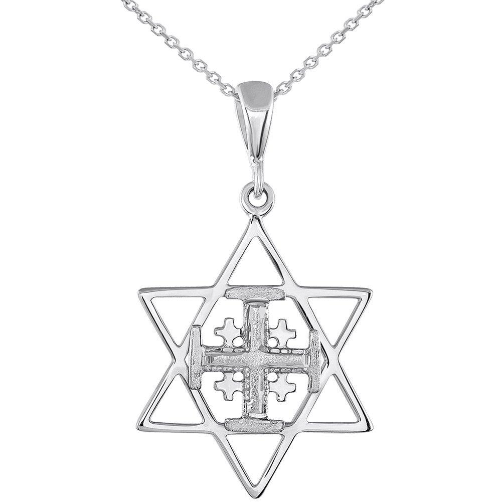 14K White Gold Star of David Cross Pendant