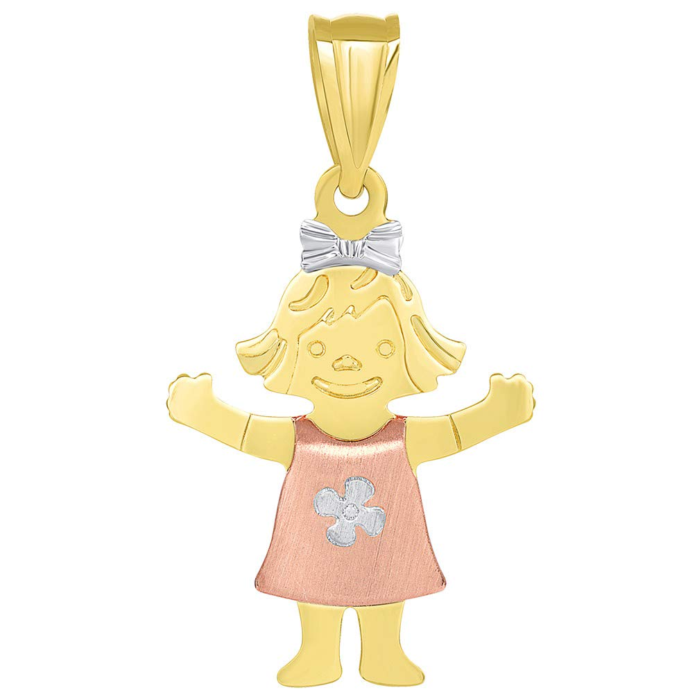 14k Tri Color Gold Smiling Little Girl Pendant