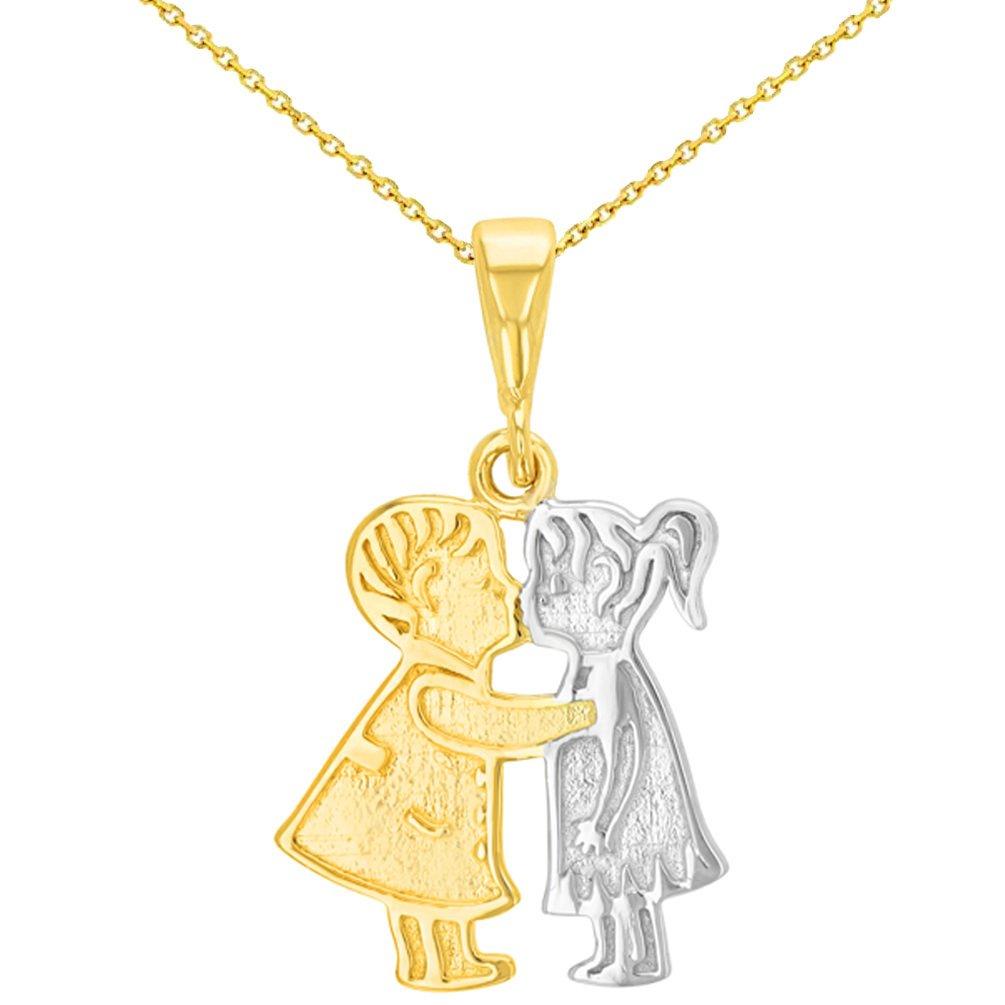 14K Yellow Gold Boy and Girl Kissing Pendant