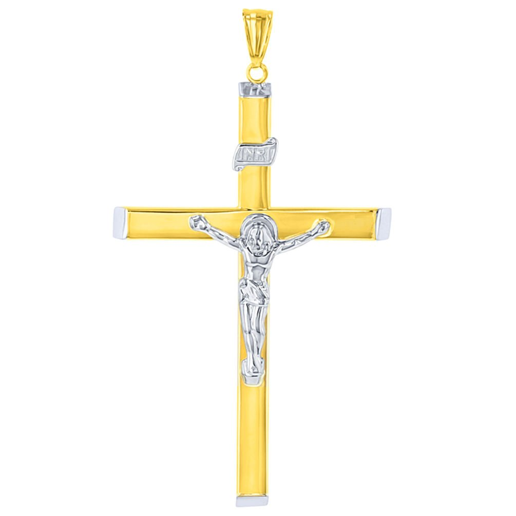 14k Two-Tone Gold Hollow Large Crucifix Pendant