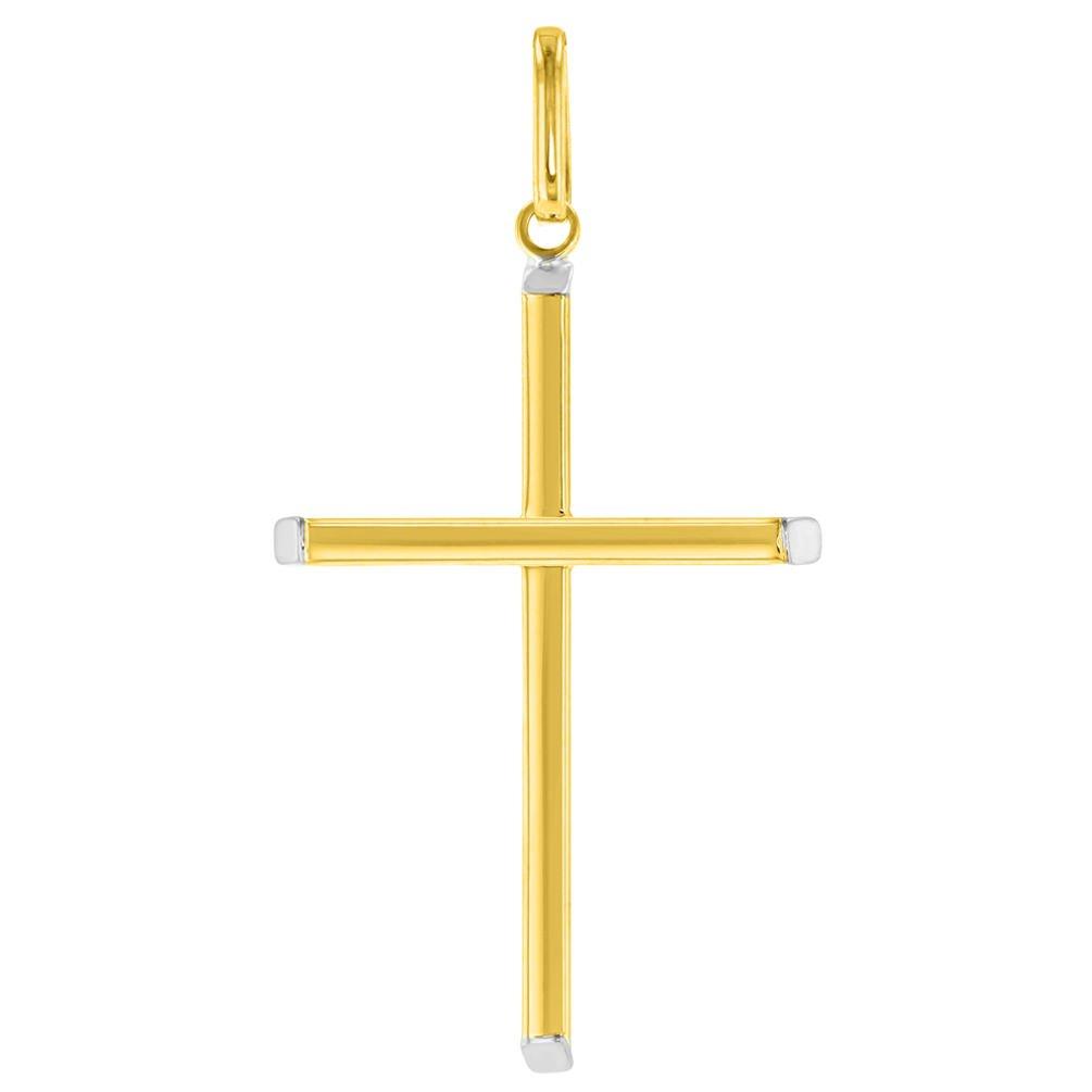 14K Two-Tone Gold Plain Slender Cross  Pendant