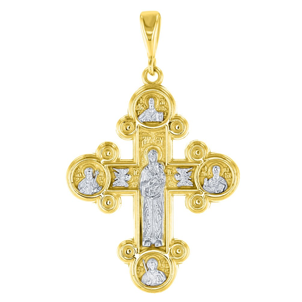14K Yellow Gold Mary with Jesus Orthodox Cross Pendant