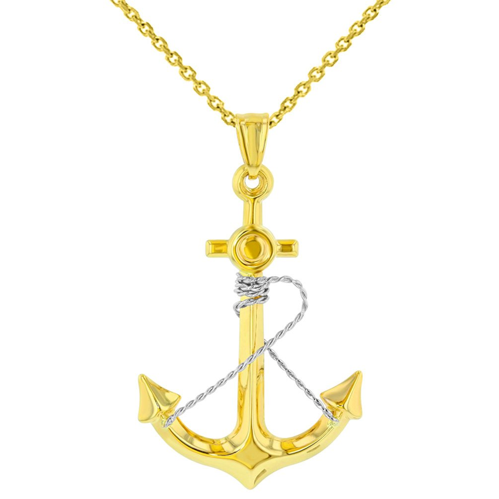 14K Two-Tone Gold Anchor with Rope Pendant