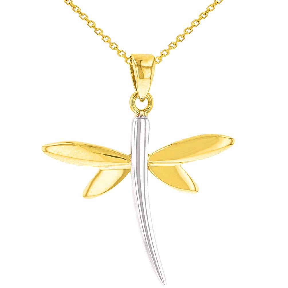 14K Yellow Gold Dragonfly Charm Pendant
