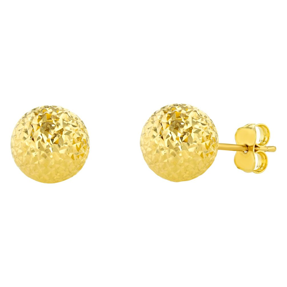 14k Yellow Gold 8mm Ball Round Stud Earrings