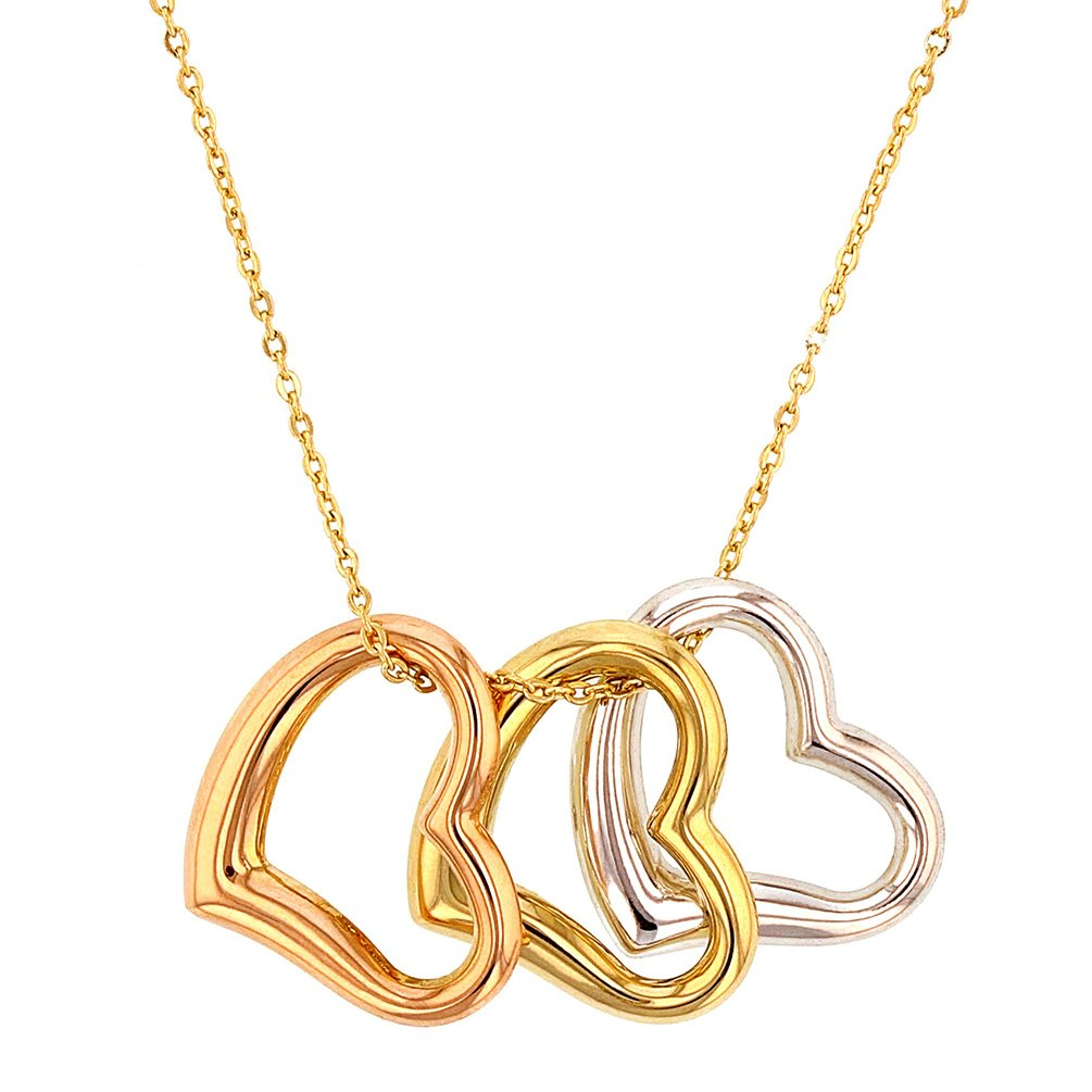 14K Tri-Color Gold Polished Three Open Heart