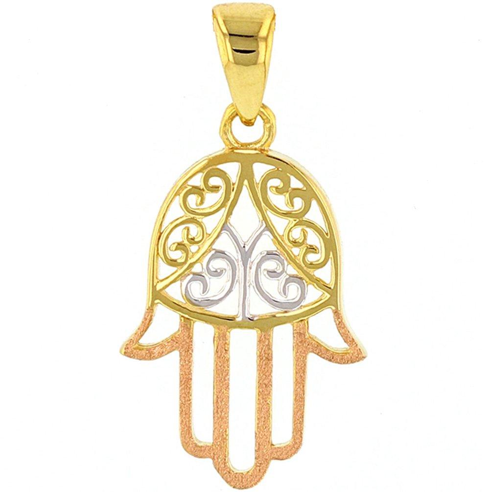 14K Gold Hamesh Hamsa Hand of Fatima Pendant