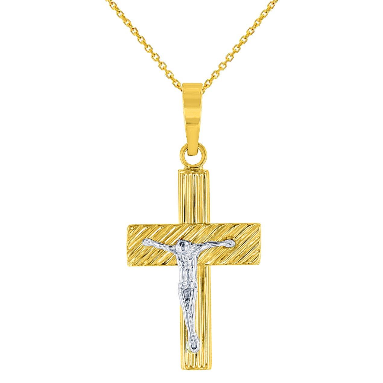 14K Two-Tone Gold Cross Crucifix Pendant
