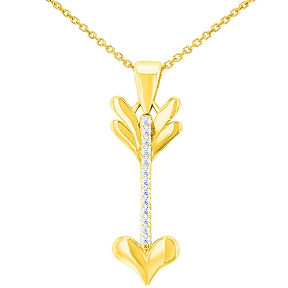 14K Yellow Gold Reversible CZ Love Arrow Pendant