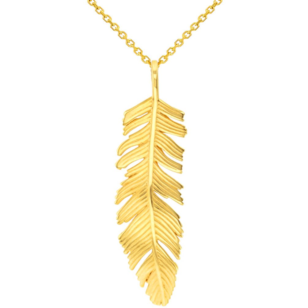 14k Yellow Gold Polished Feather Charm Pendant