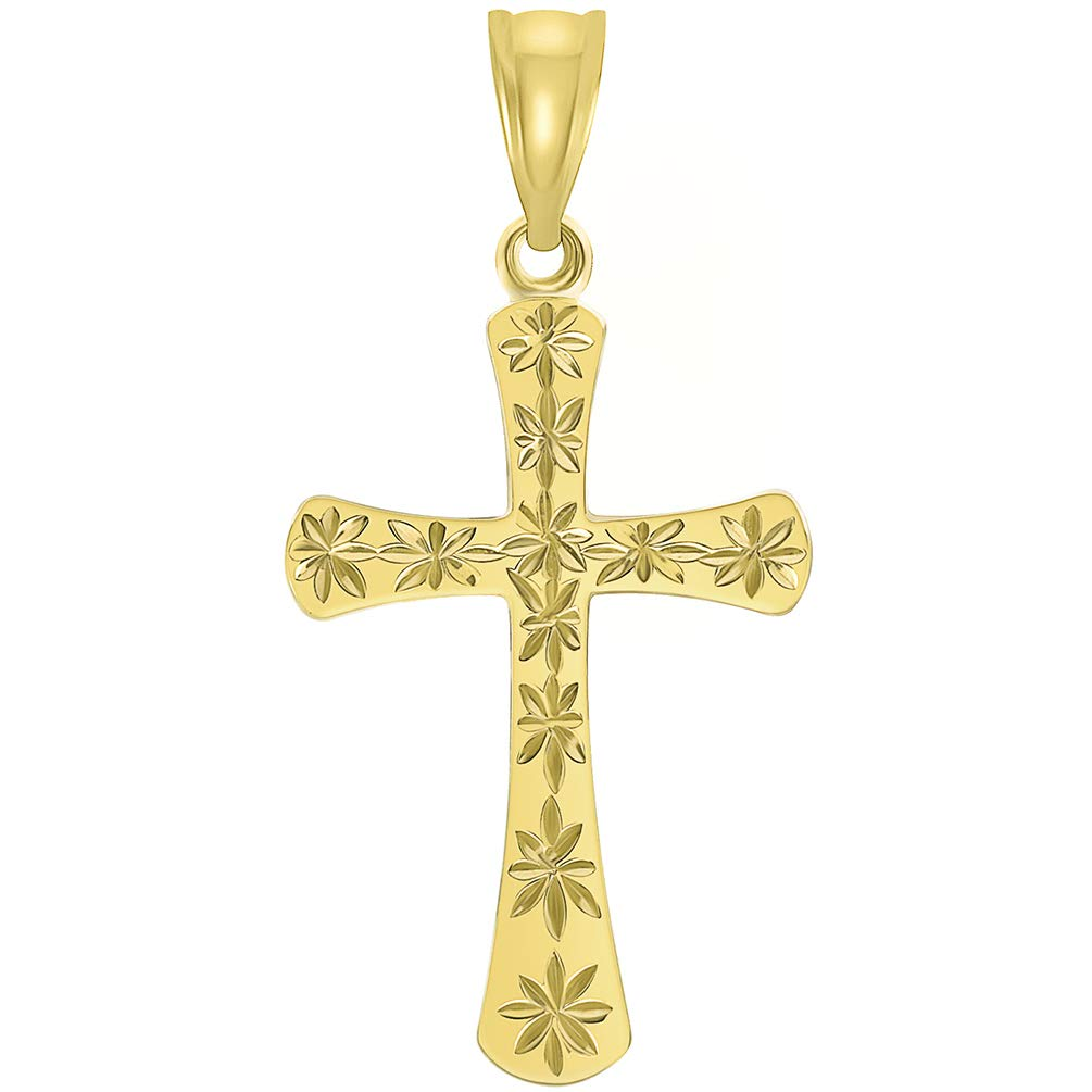 14K Yellow Gold Textured Star Cut Cross Pendant