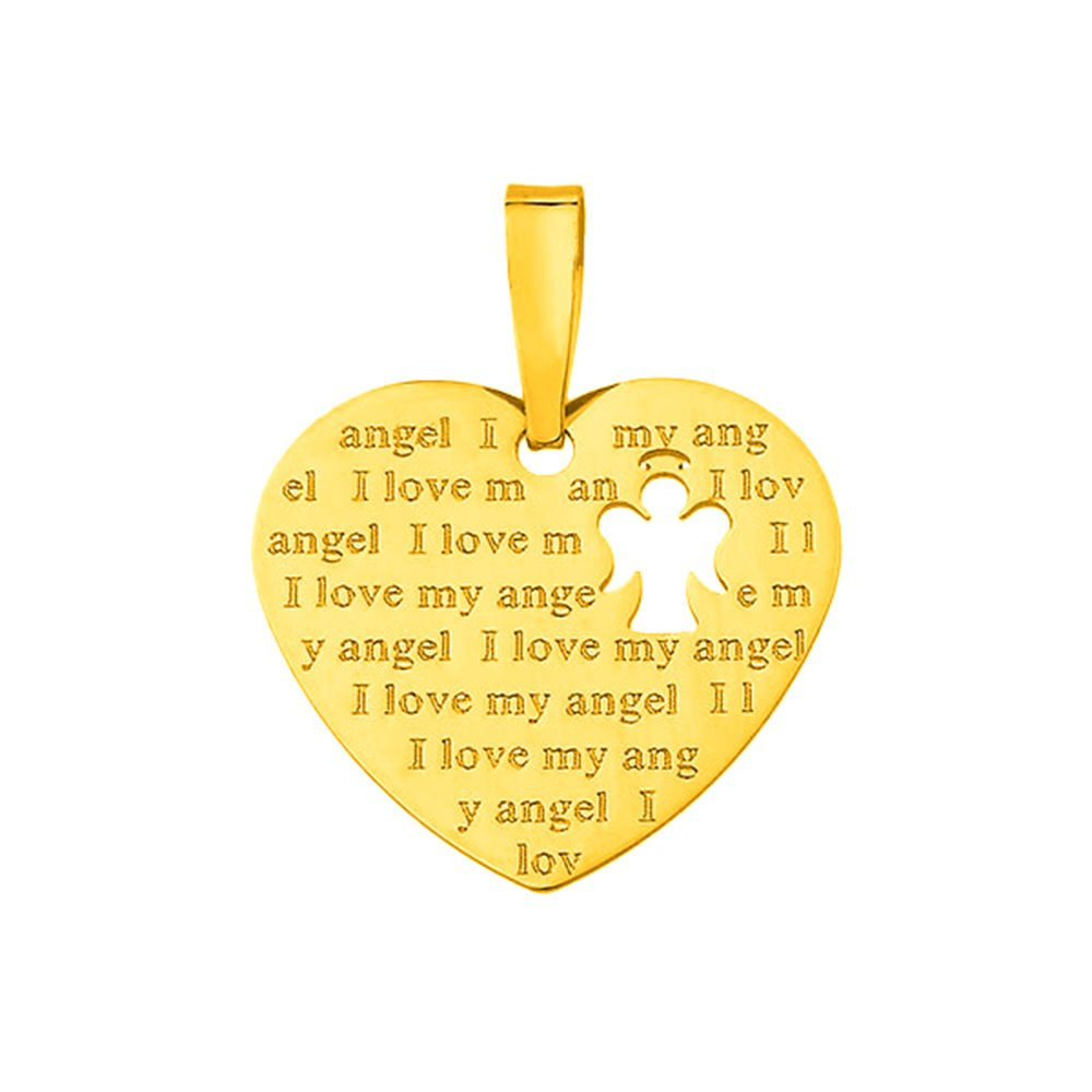 14K Yellow Gold Heart I Love My Angel Pendant