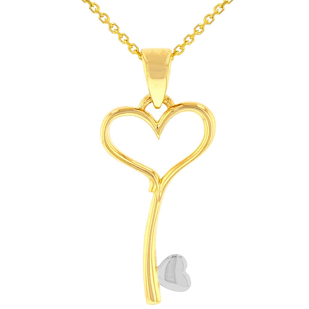 14K Yellow Gold Open Heart Love Curved Key Pendant