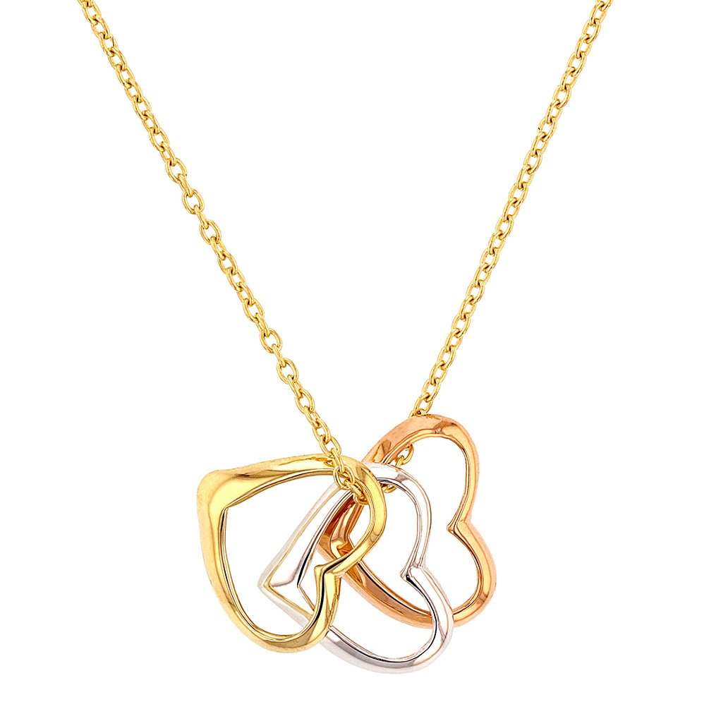 14K Tri-Color Gold Three Open Hearts Necklace