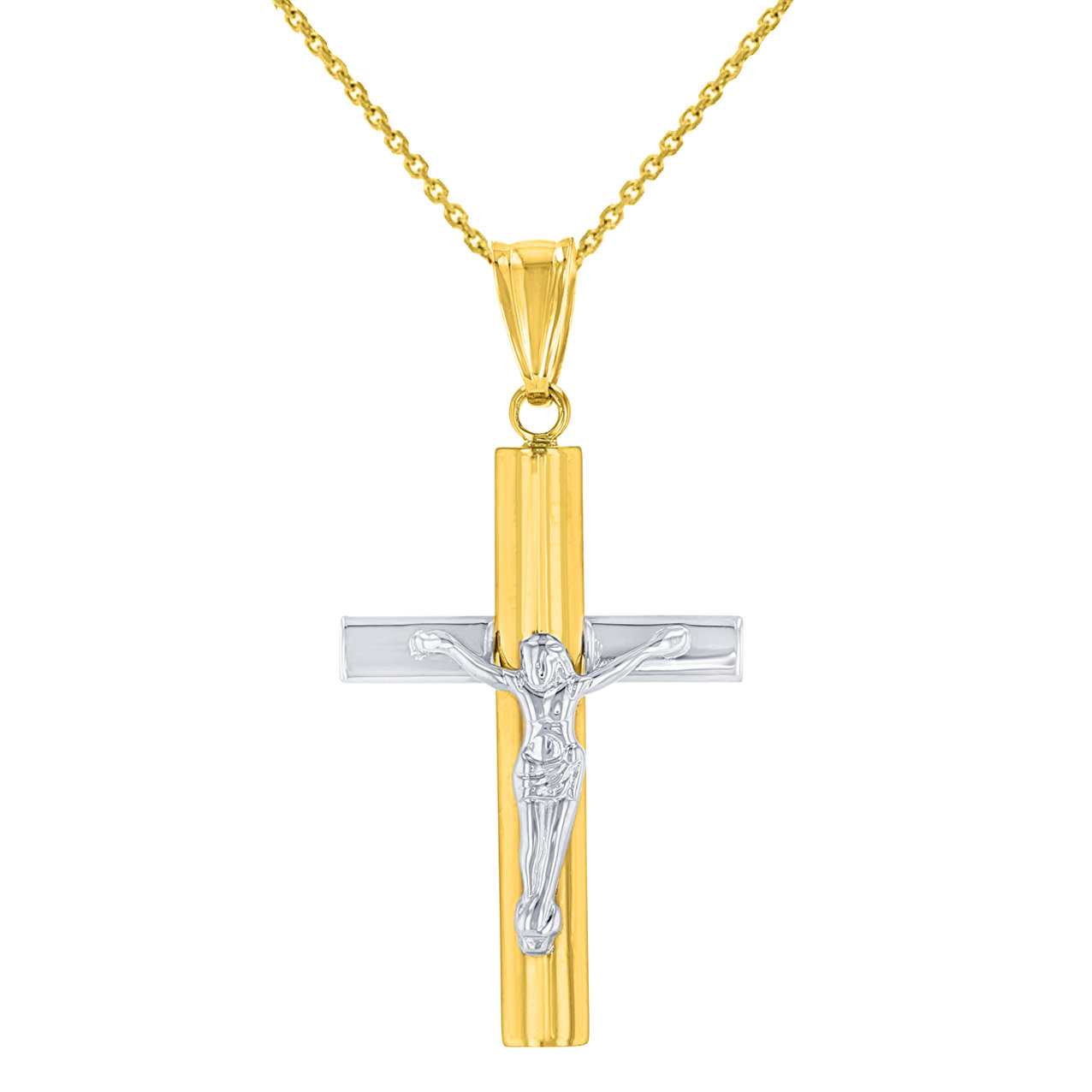 14K Yellow Gold & White Gold Cross Pendant