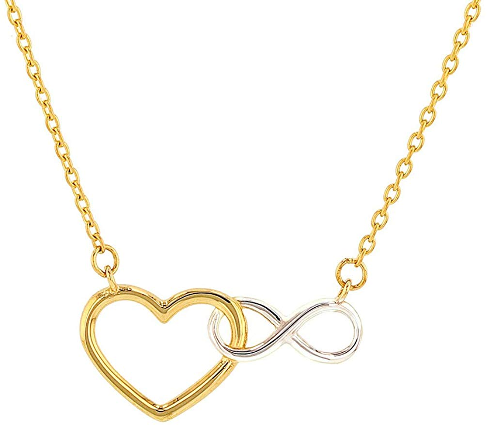 14K Yellow Gold Heart Infinity Symbol Necklace