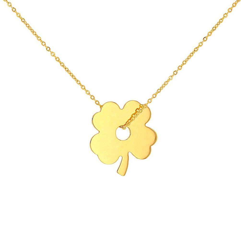 14K Yellow Gold Lucky Four Leaf Clover Necklace