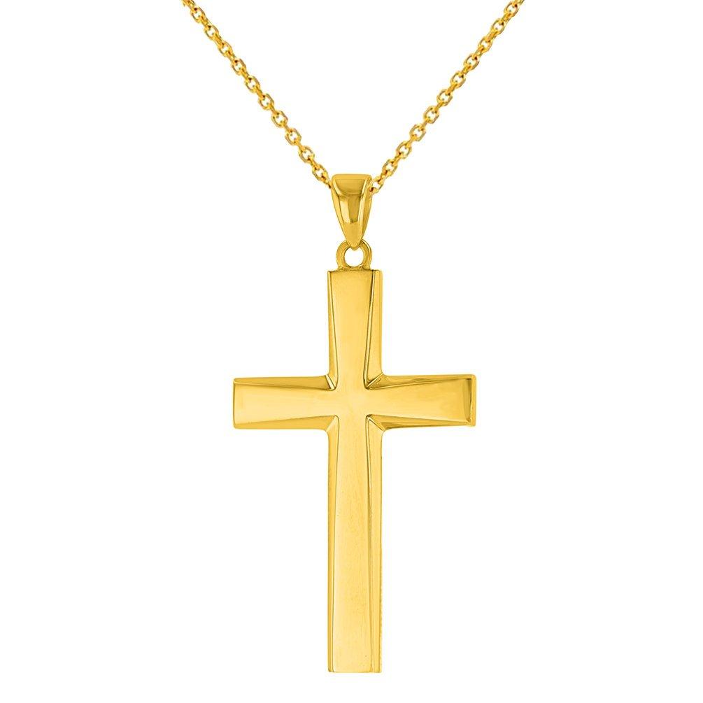 14K Yellow Gold Plain Religious Cross Necklace