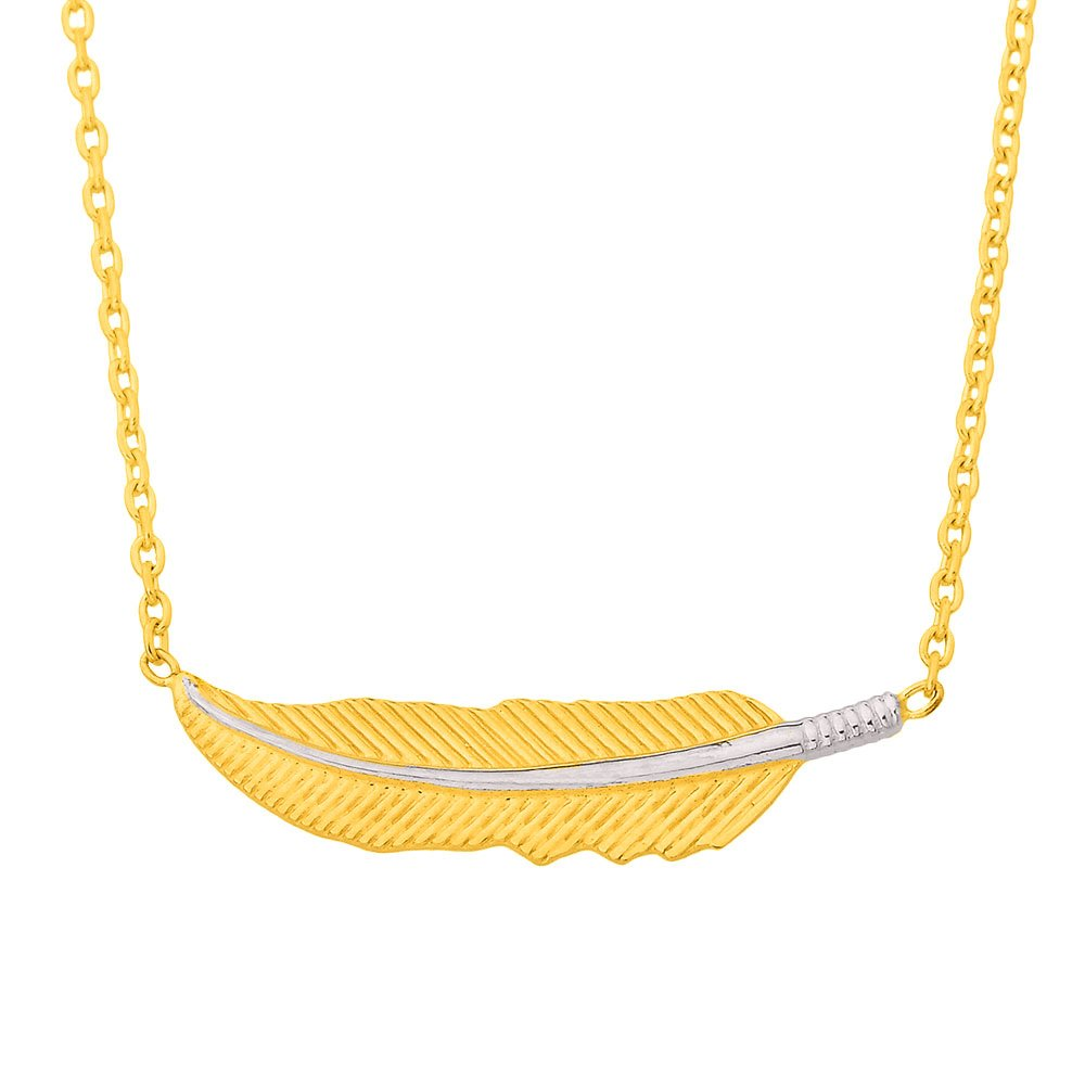 14K Yellow Gold Sideways Feather Necklace