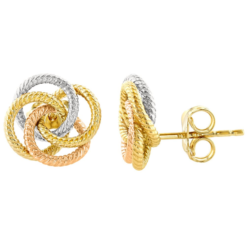 14k gold earrings triple love knot stud Earrings