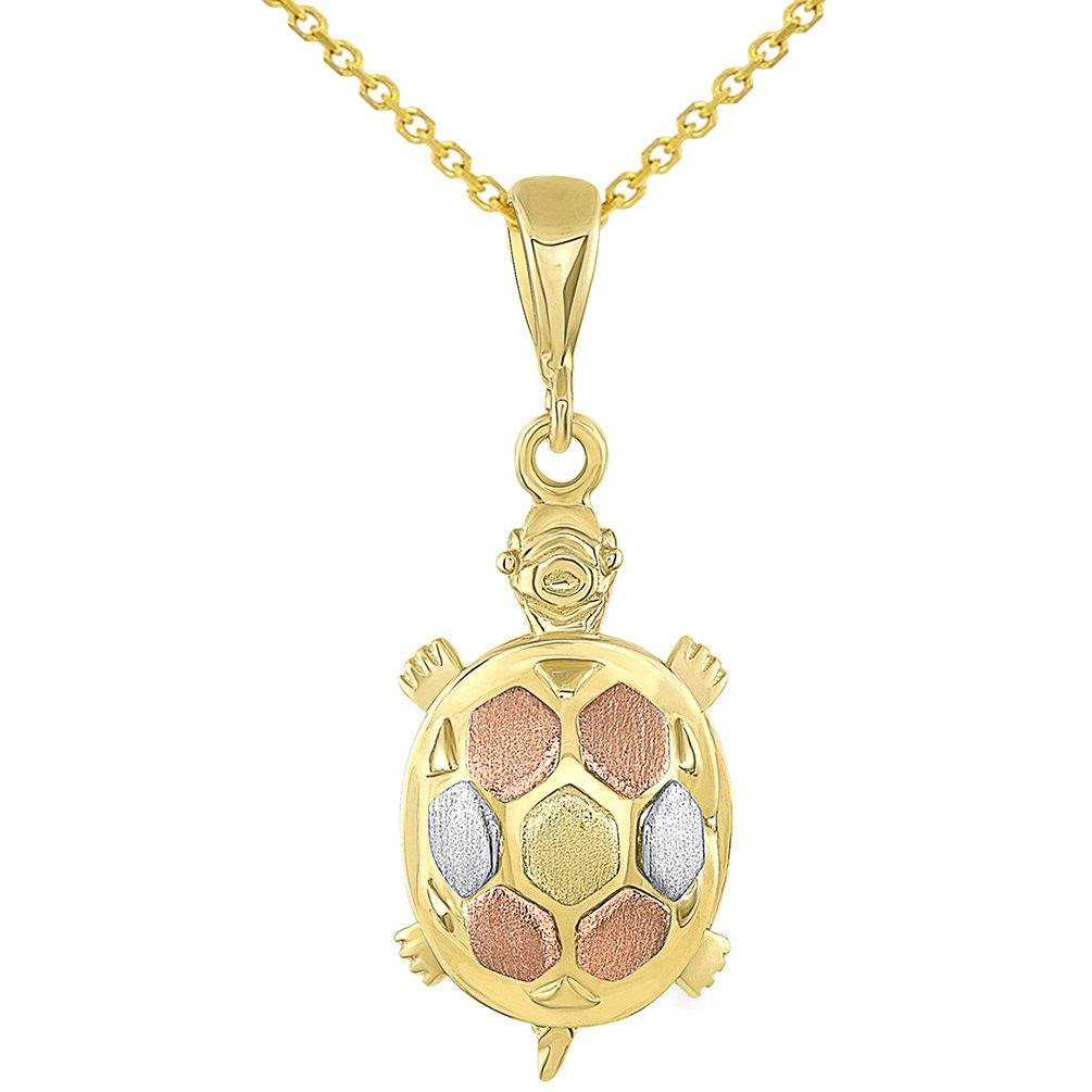 14K Tri-Color Gold Fancy Turtle Pendant