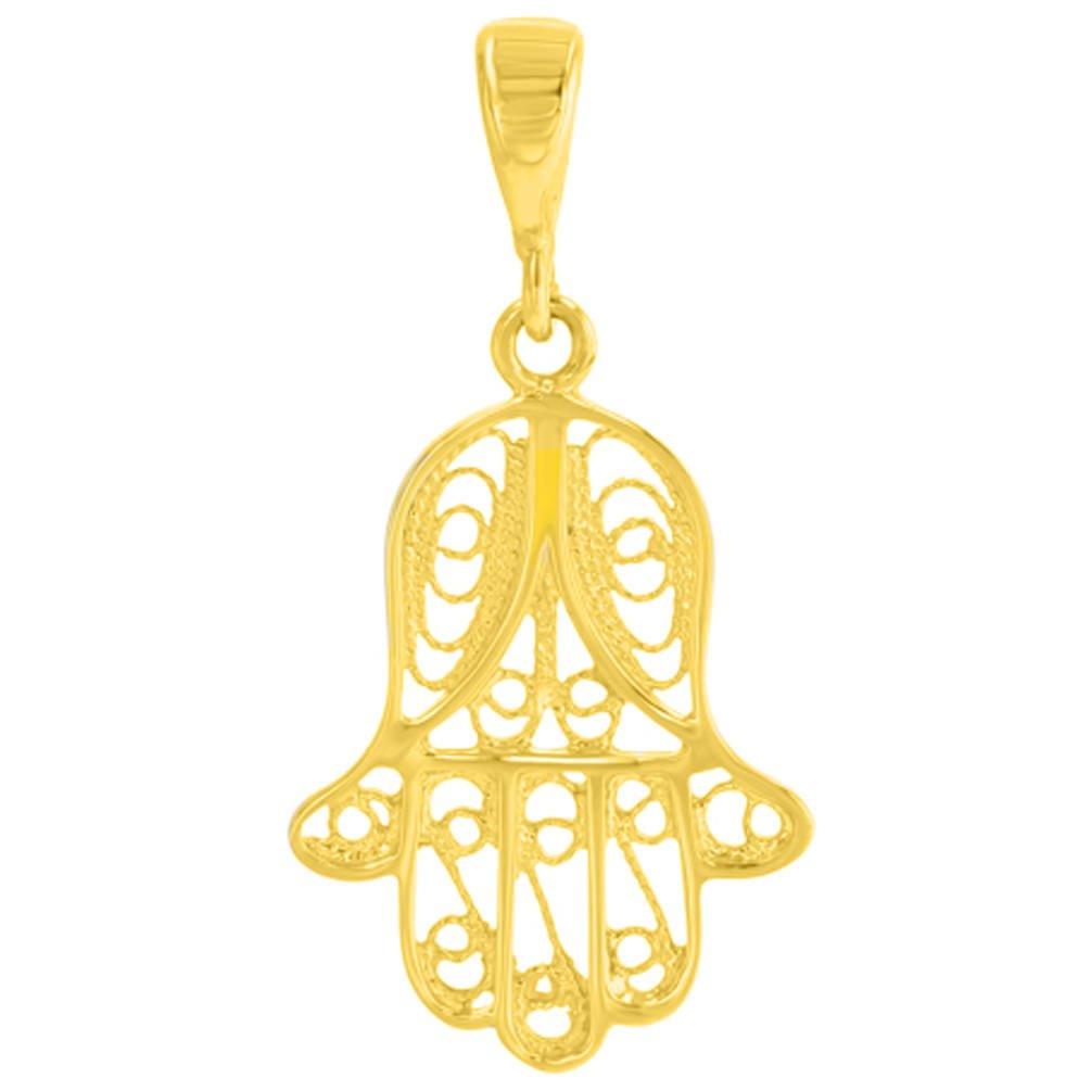 14K Yellow Gold Hand of Fatima Pendant