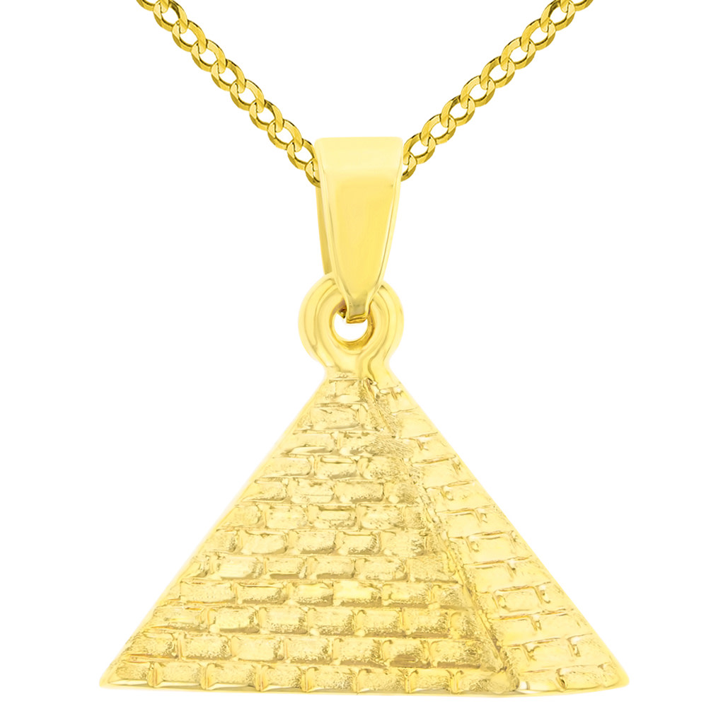 14K Yellow Gold Satin Polished Egyptian 2D Pyramid Pendant with Cuban Chain Necklace