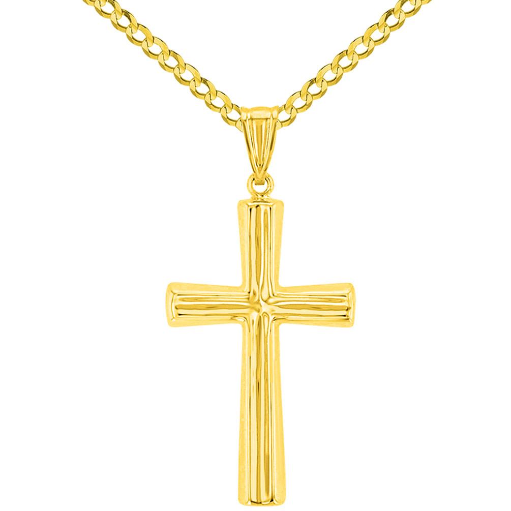 14K Yellow Gold Plain Religious Cross Pendant