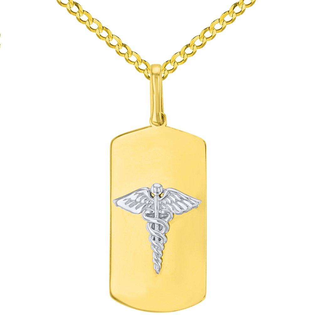 14K Two Tone Gold Medical Symbol Pendant