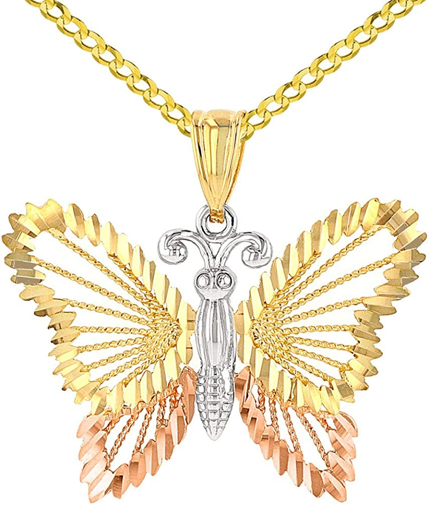 14K Tri-Color Gold Textured Butterfly Pendant