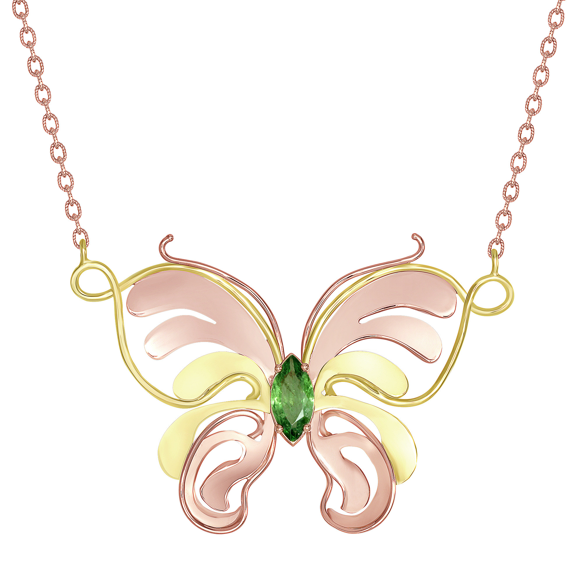 Pink and Green Butterfly Necklace