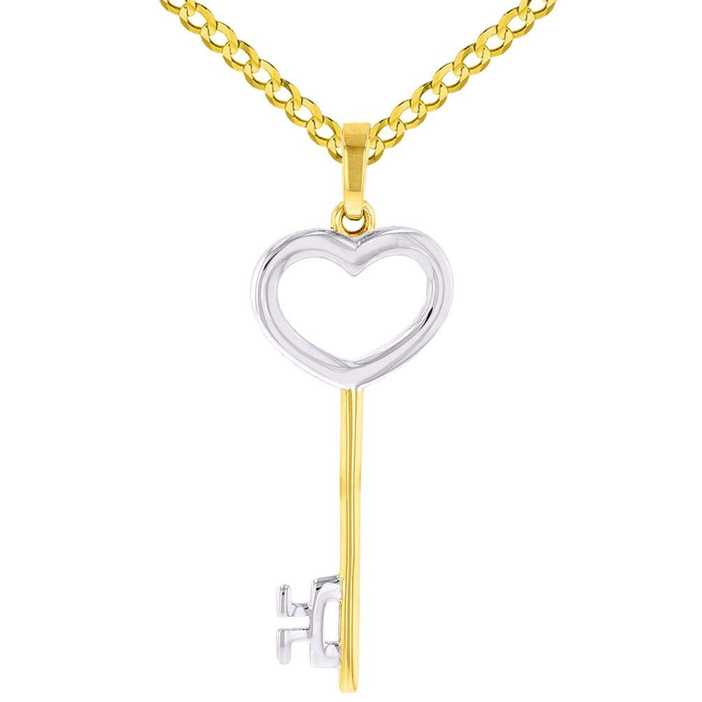 14K Yellow Gold Key to My Heart Love Pendant