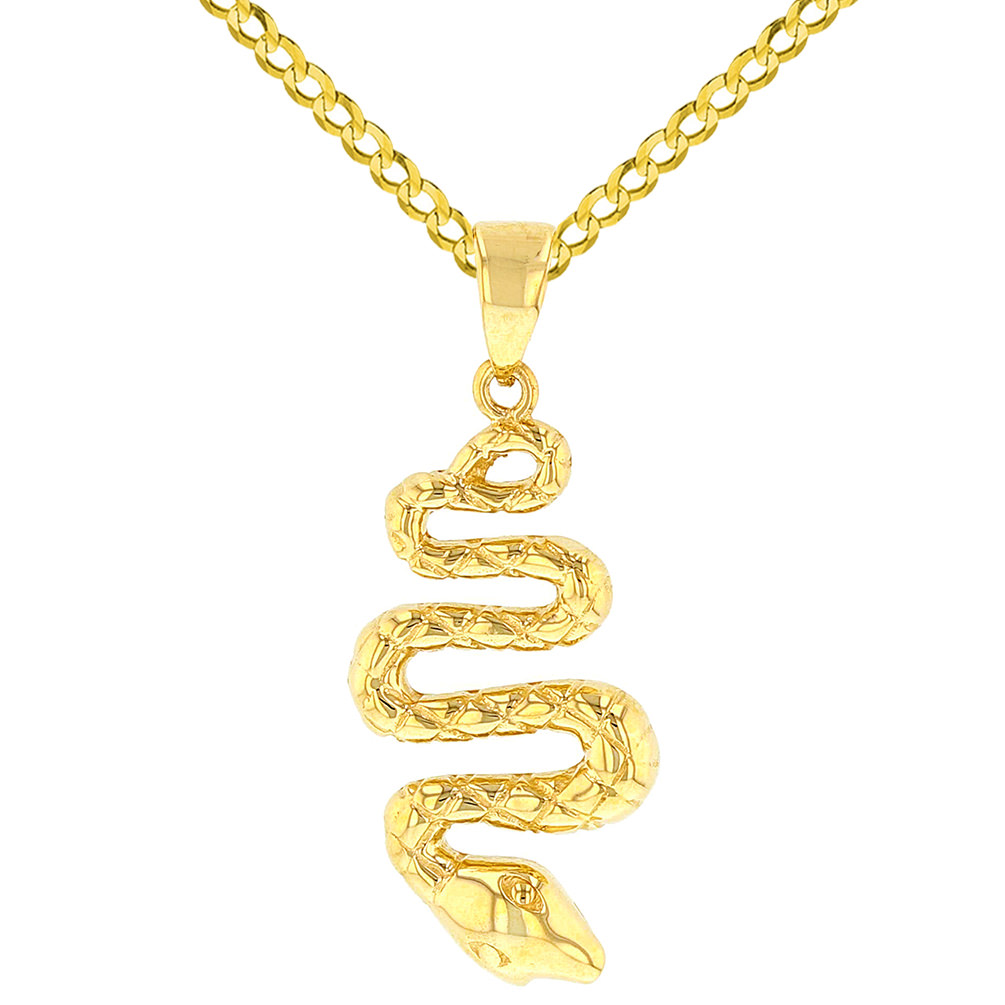 14K Yellow Gold Snake Animal Pendant
