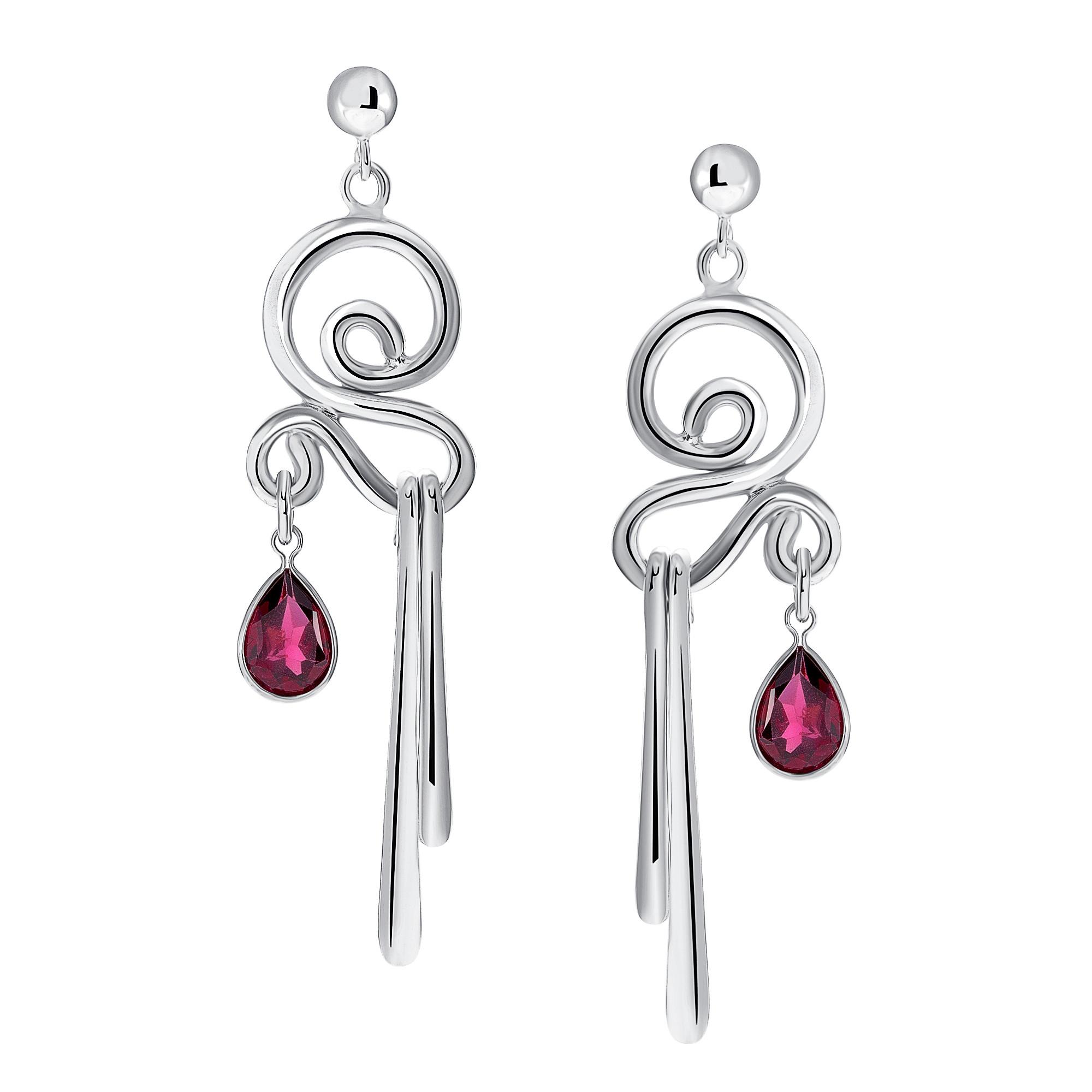 Dancer Earrings #17 in Silver with Garnets
