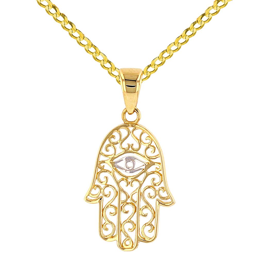 14k Hamsa Hand of Fatima with Evil Eye Pendant