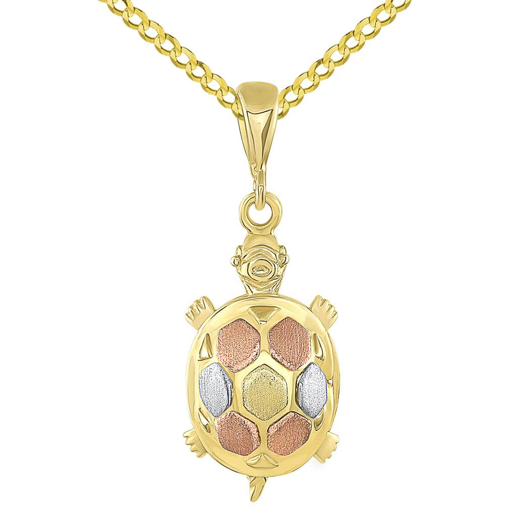 14K Tri-Color Gold Turtle Charm Animal Pendant