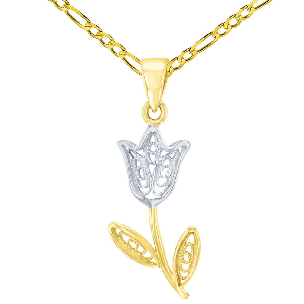 14K Yellow Gold Filigree Tulip Flower Pendant